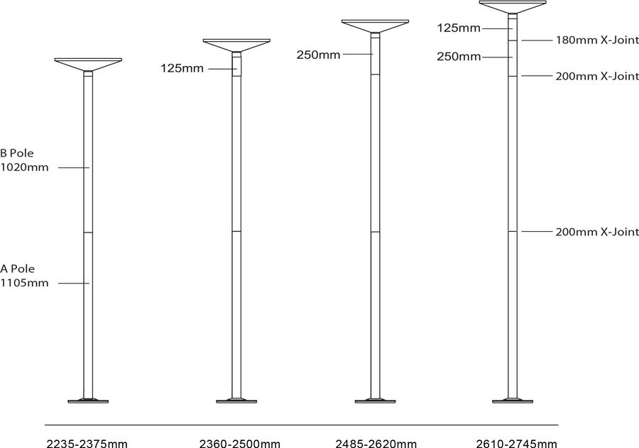 Tableau des dimensions pour barres pole dance X-Pole